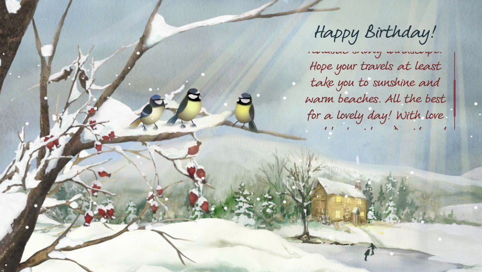 An eCard of a snow scene with some birthday wishes written on it