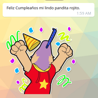 Birthday message and first sticker of spam of stickers from boyfriend