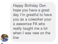 A message of thanks sent by my coworker